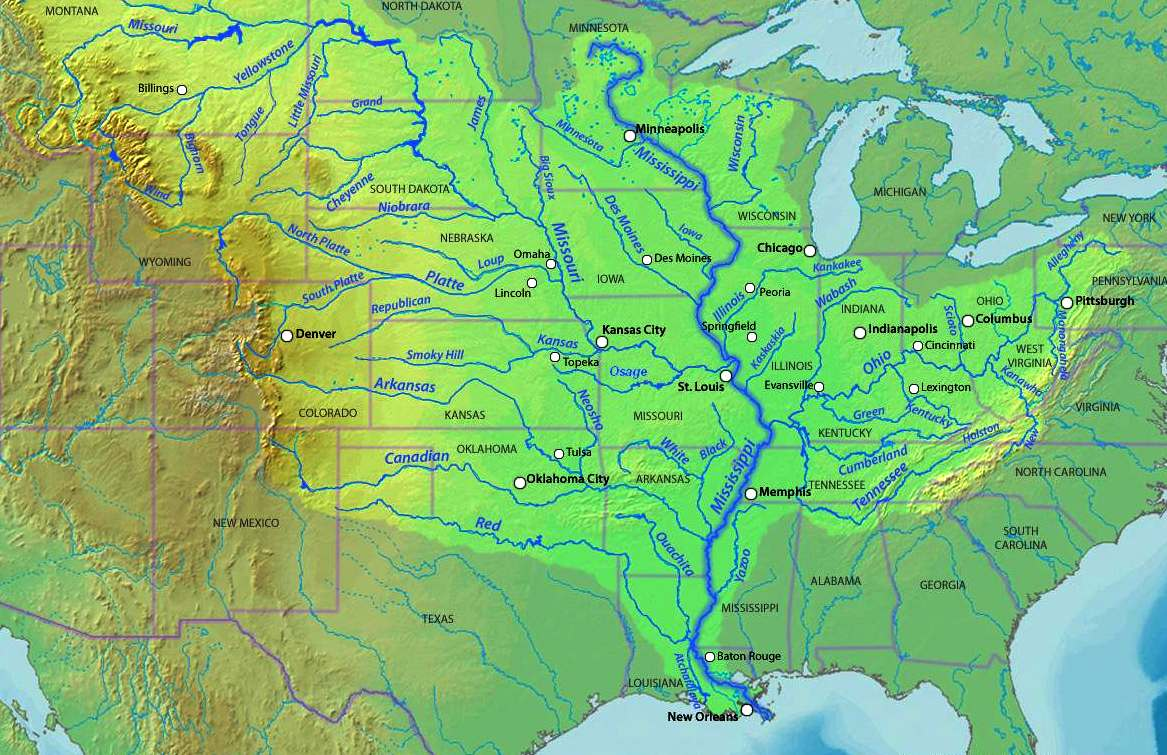 Mississippi River System Wikipedia Map Usa Rivers And Mountains - Usa map with rivers and lakes